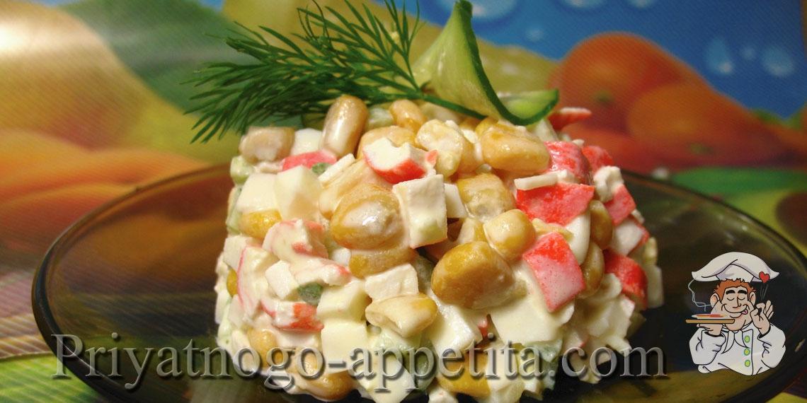 Салат крабовый со свежим огурцом рецепт