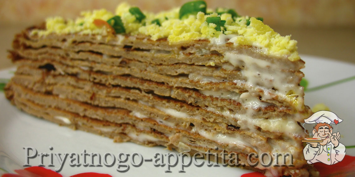 рецепт с фото торт печеночный