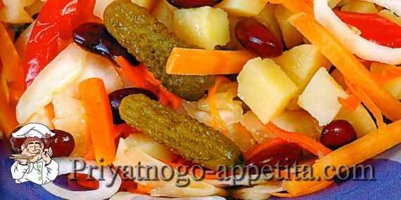 Овощной салат с корнишонами