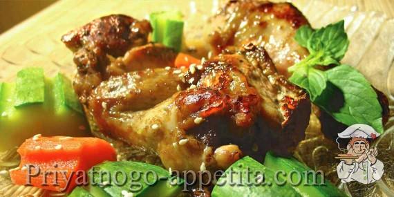 Курица, маринованная в соевом соусе и вине