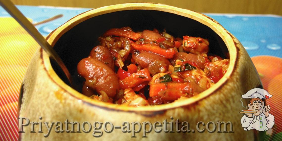 Фасоль тушеная с мясом и овощами