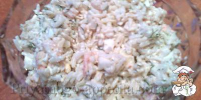 Салат из кальмаров с рисом