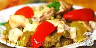 Овощи с куриной грудкой