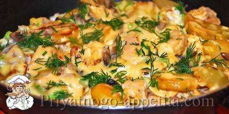 Омлет с мясом и овощами