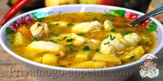 суп куриный с клецками рецепт с фото