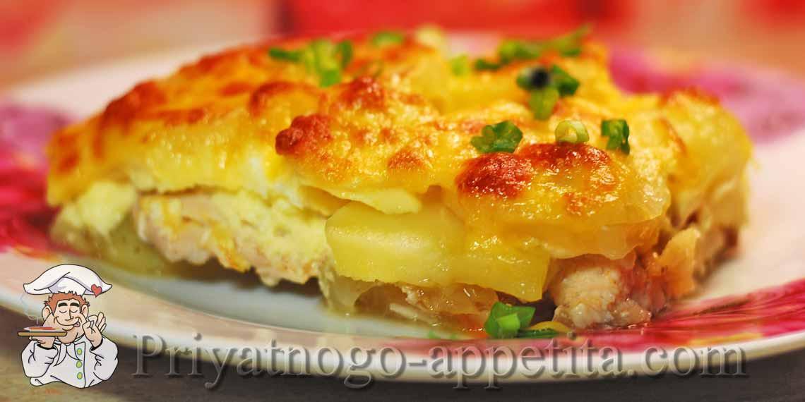 запеканка с курицей и картошкой и сыром