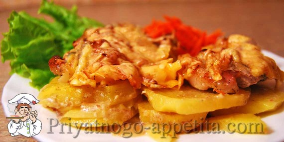 Мясо с картошкой, запеченные в духовке