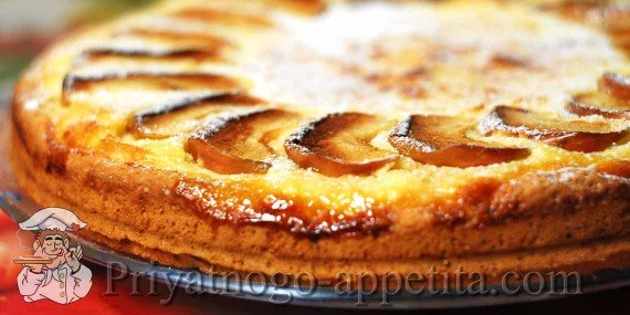 Пирог яблочный с творогом