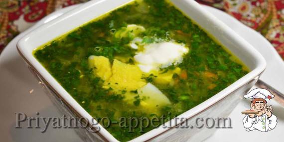 Суп со щавелем и шпинатом
