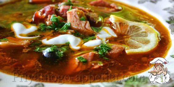Рецепт мясной сборной солянки
