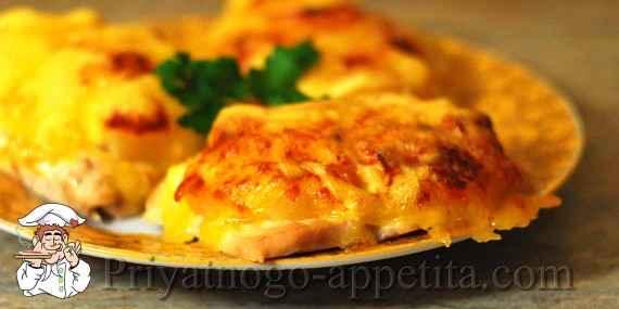 Отбивные с ананасами и сыром в духовке рецепт с пошагово в