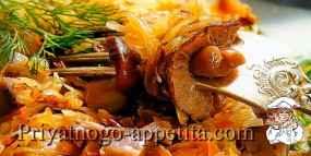 Кислая тушеная капуста с грибами
