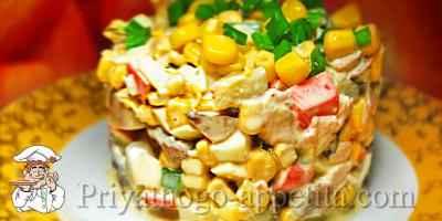 Салат с курицей, крабовыми палочками и кукурузой