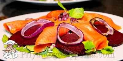 Салат из свеклы с рыбой