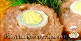 Зразы с перепелиными яйцами