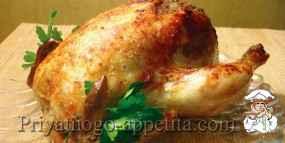 Курица, фаршированная печенкой и грибами
