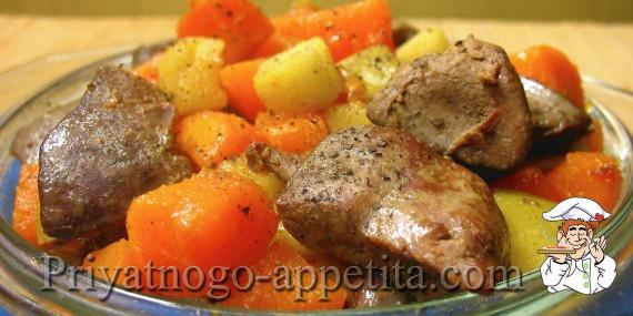 Куриная печенка с тыквой и яблоками