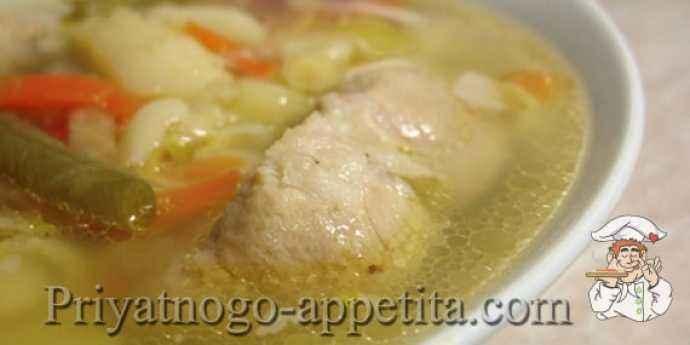 Суп на свиных ребрышках с овощами