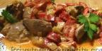 Куриная печень, тушеная с болгарским перцем
