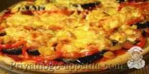 Пицца с баклажанами и кукурузой