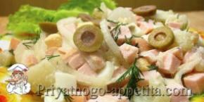 Салат с колбасой