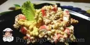 Крабовый салат с орехами