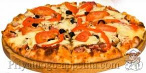 Пицца с мясом и грибами