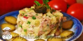 Мясной салат с редиской