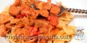 Поджарка со свининой и томатом