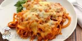 Спагетти с грибами и сыром