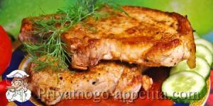 Антрекот из свинины на сковороде