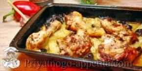 Курица с кабачками в духовке