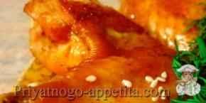 Куриные крылышки с медом и соевым соусом