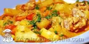 Соус с кабачками, картофелем и мясом