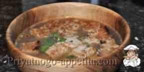 Суп из мяса индейки с гренками
