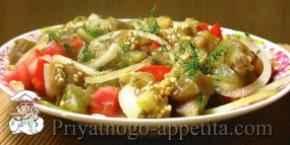 Салат из помидоров и баклажанов