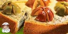 Пирог с творогом и яблоками